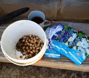 Select seeds and bulbs, put in pot, mix and rake in. Probably not in a gardening guide.