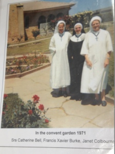 Nuns at the front circular bed in the early '70s. Note the capping around the paths which has now gone. I suspect all this concrete has gone and my paths are new given these cracks now don't show.