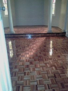 This was the big surprise. No idea that the old green carpet covered the original parquetry flooring which I've been told was great quality and has come up beautifully.