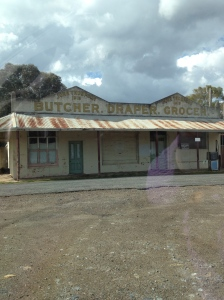 The lovely old Butcher and Draper store at Lue - now standing unused.