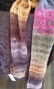 This month's new addition - a drop stitch scarf