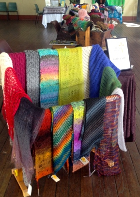My old tapestry stand provided an ideal display for scarves and helped highlight the stall.
