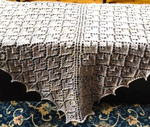 Another Adamas shawl, this time in a handspun wool and silk blend