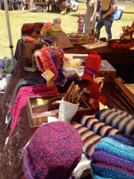 Our wares on display. There's non stop knitting to keep up the supply.