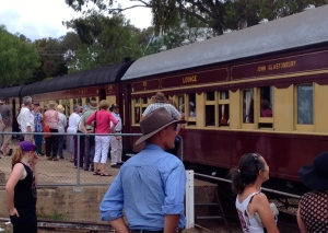 The town turned out to welcome the train. Some went on a quick trip to Clandulla whilst the visitors had their lunch