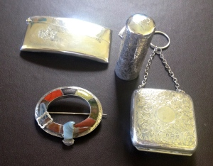Gorgeous silver things including  coin purse and a beautiful Scottish agate brooch.