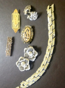 Jewellery which includes a vintage cocktail bracelet that would have looked in place on the Duchess of Windsor's wrist.
