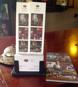 Our new brochures and bookmarks reflect our shop well. Hopefully we can get a wide distribution.