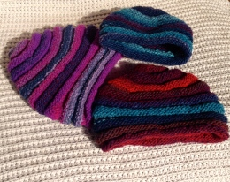 Noro beanies - the colour and textures of Kureyon work particularly well.
