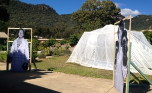 The boxing tent looks ethereal against the backdrop of the Coomber Mountains at the rear of the Convent.