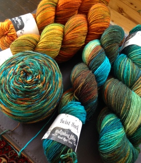 My yarn selection - Hedgehog Fibres Copper Penny and Pod in Twosted Sock Yarn.