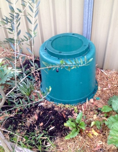 Deconstructed compost bins - situated and movable. A joy to use.