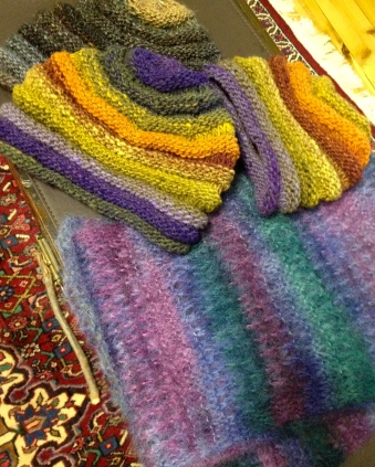 So far this week - going into the shop tomorrow - 3 spiral beanies and a fishnet lace scarf. Two baby jumpers are currently on the needles.