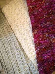 Rylstone Ridge scarves - shop pattern, shop yarns and for  sale! - three ticks!