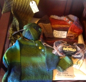 Shop samples - our patterns in our yarns. Simple projects and good examples of how the yarn knits up.