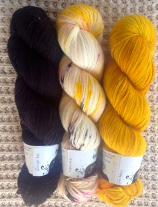 My Hedgehog Fibres colours - Graphite, Monarch and Pollen.
